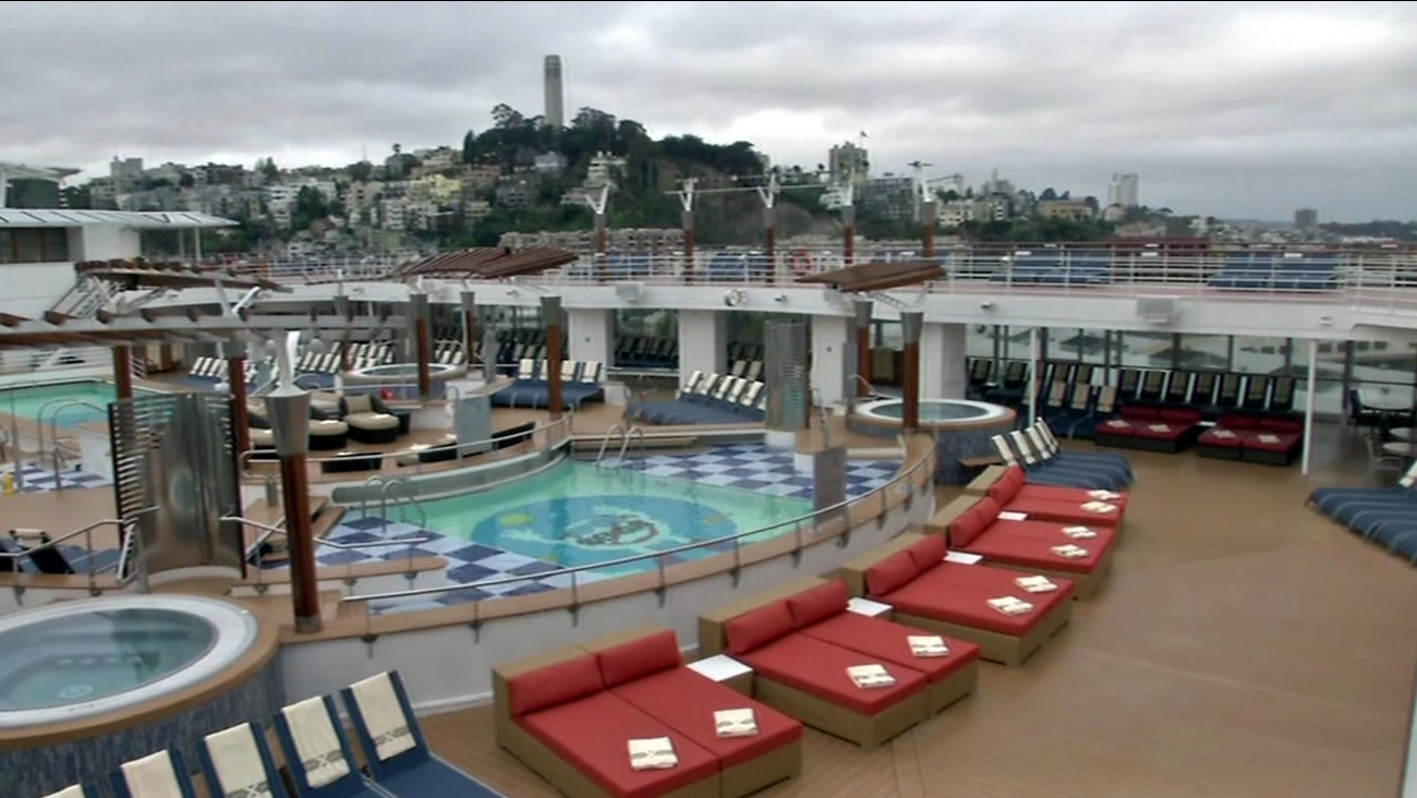 A Celebrity Infinity cruise ship is anchored in San Francisco on Monday, September 14, 2015.