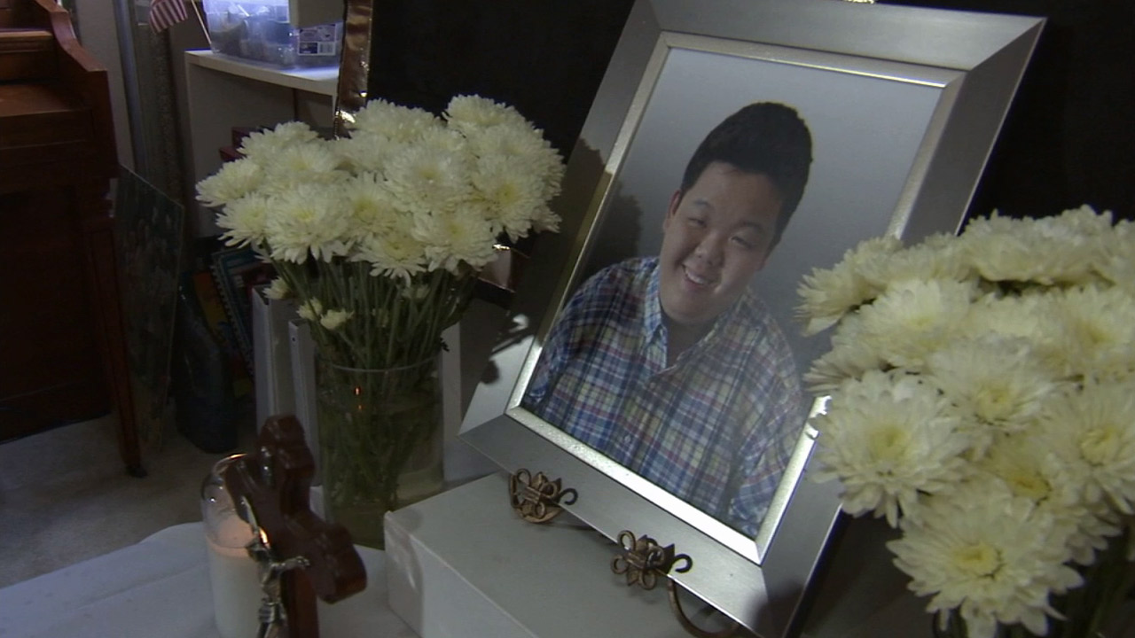 The parents of Paul Lee set up a small memorial for him at his home on Monday, Sept. 14, 2015.