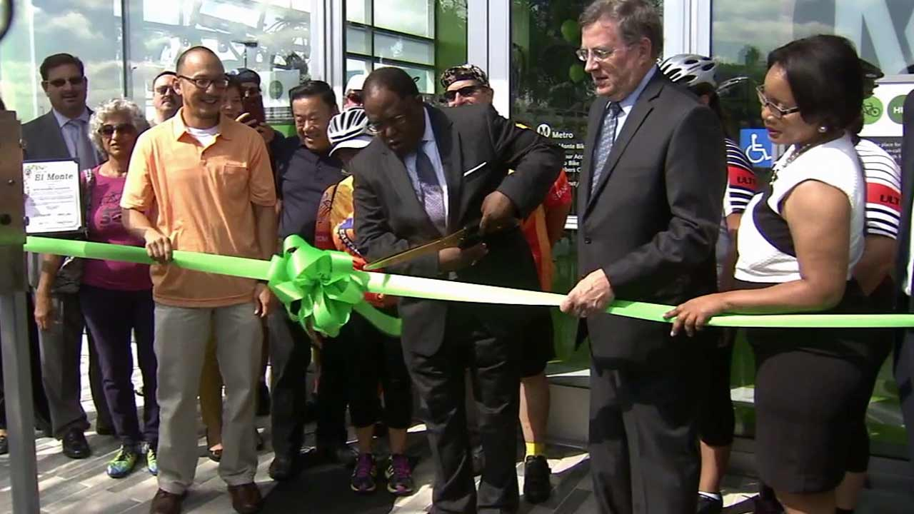 Los Angeles County officials celebrate the grand opening of the Metro El Monte Bike Hub on Monday, Sept. 14, 2015.