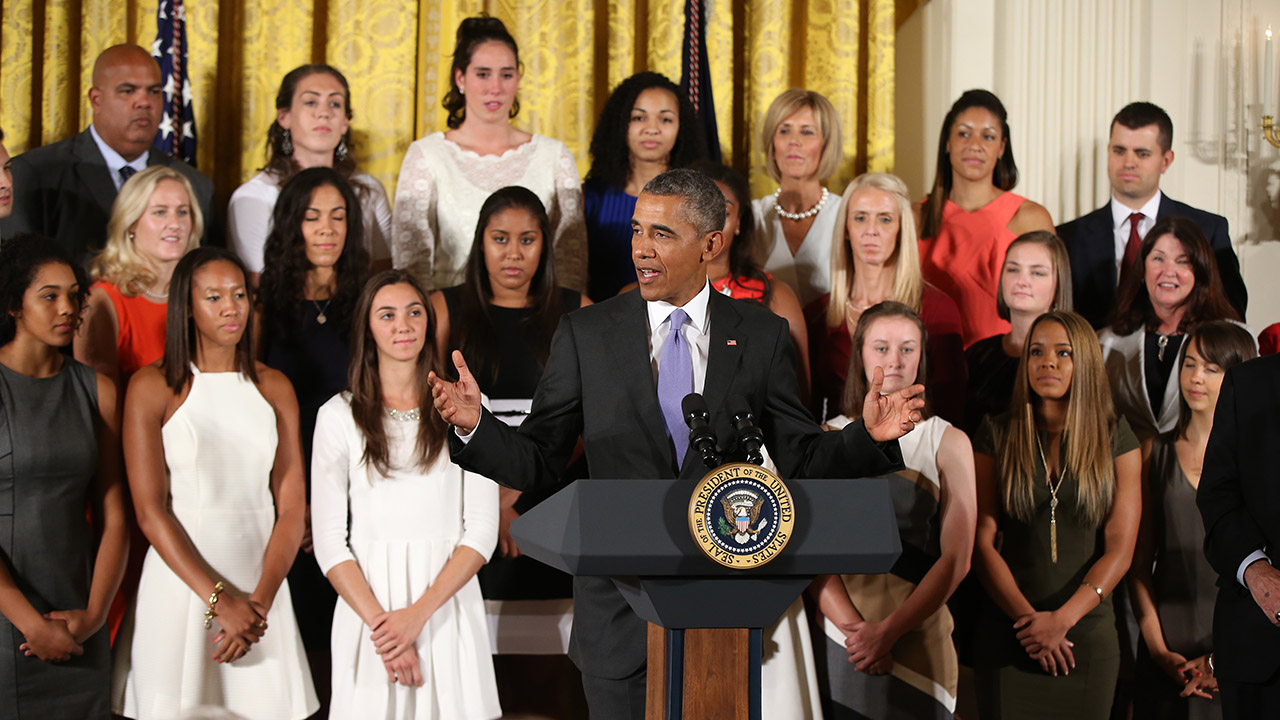 President Barack Obama speaks during a ceremony to honor the 2015 NCAA Women's Basketball Champion University of Connecticut Huskies.