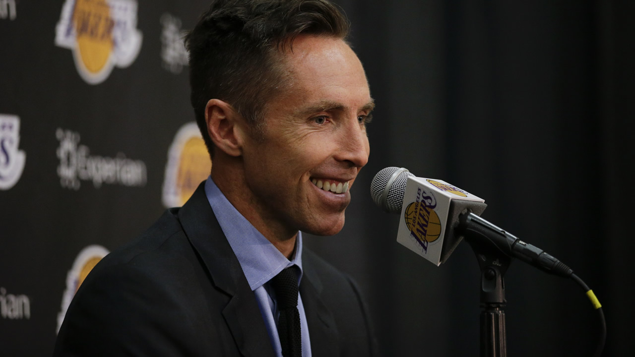 Los Angeles Lakers' Steve Nash smiles while speaking at a news conference, Tuesday, March 24, 2015, in El Segundo, Calif.