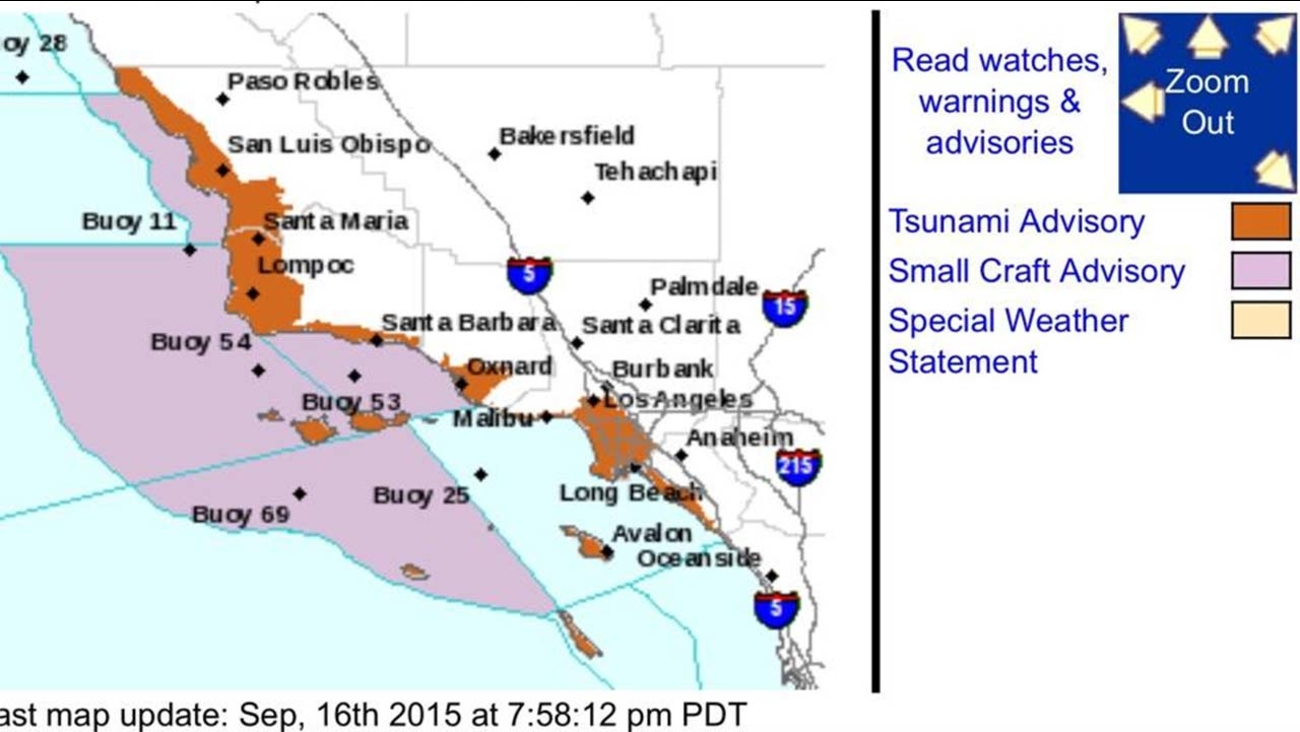 California Tsunami advisory map