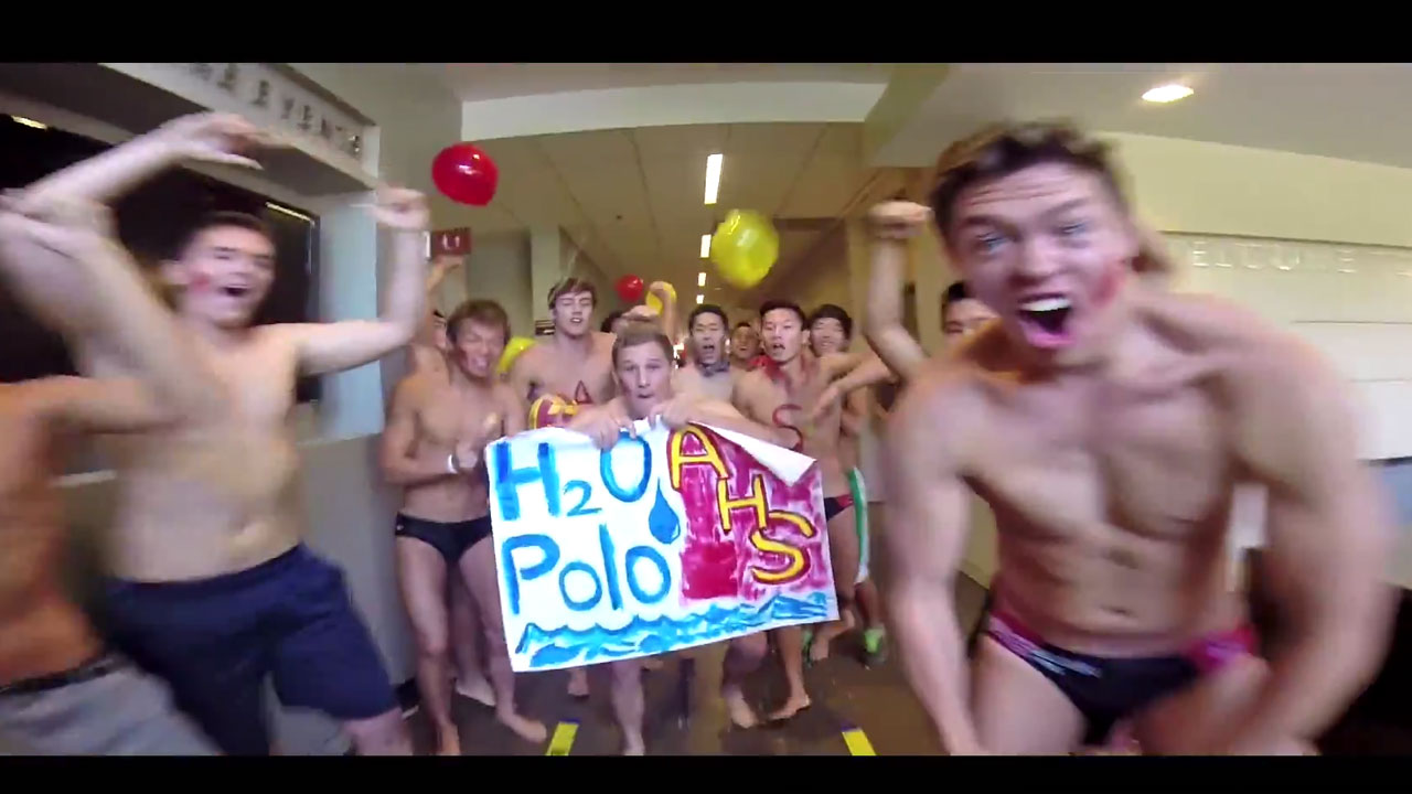 """A frame from Arcadia High School's lip dub performance of """"The Spark,"""" by Afrojack feat. Spree Wilson."""