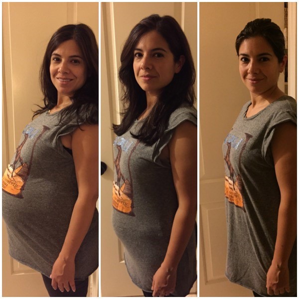 From left to right: 39 weeks pregnant, 5 weeks post-partum and 12 weeks post-partum