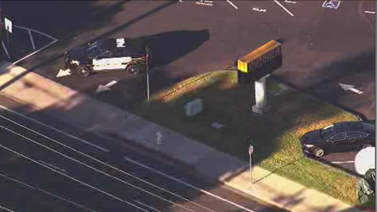 Police blocked off the Amador Valley High School campus in Pleasanton, Calif, on Friday, September 18, 2015, due to an investigation.
