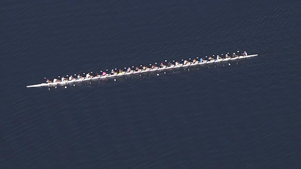 World's longest rowing shell seen at Jordan Lake