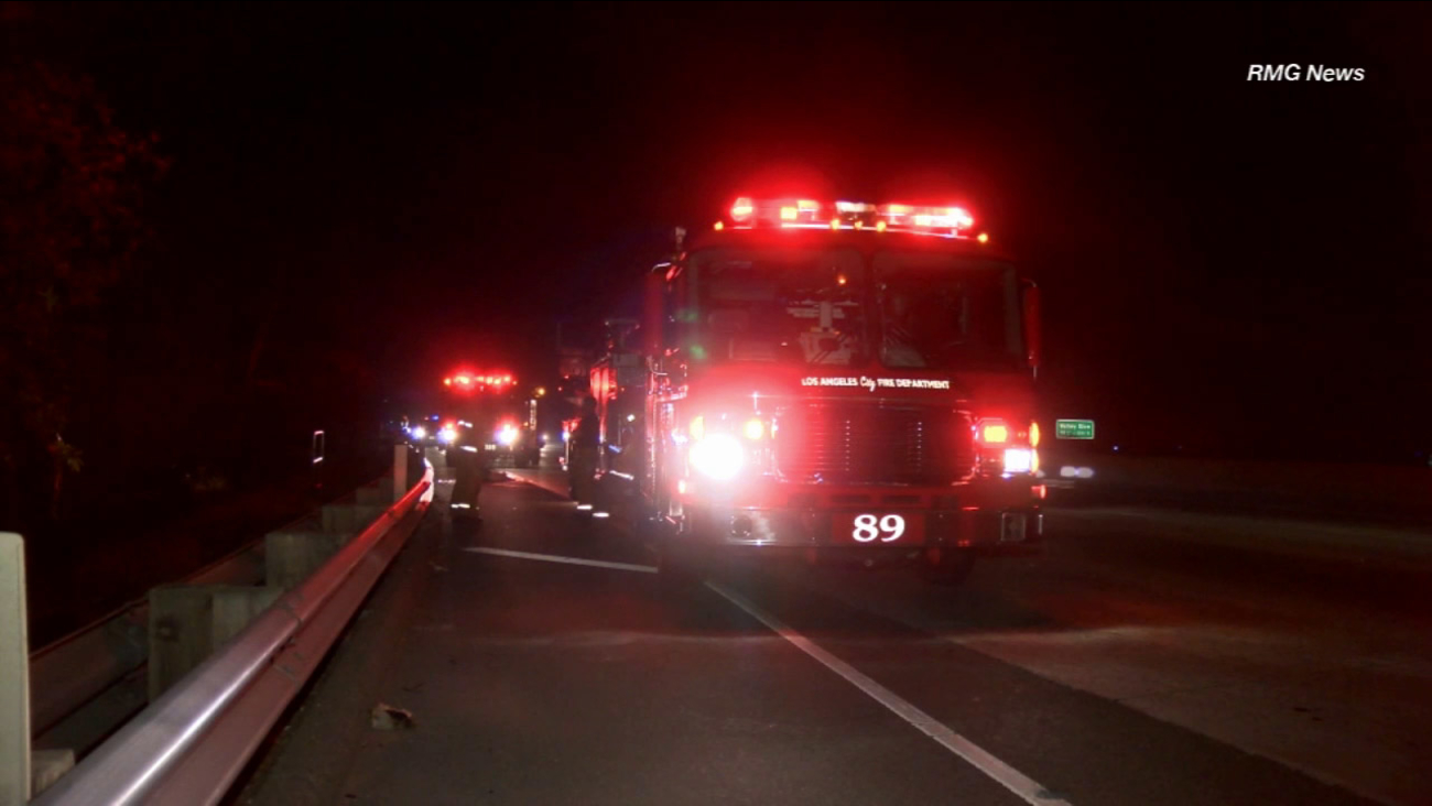 Police investigate a hit-and-run on the northbound 170 Freeway after a man was found dead on the shoulder of Sherman Way early Saturday, Sept. 19, 2015.