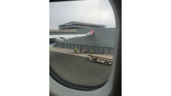 "<div class=""meta image-caption""><div class=""origin-logo origin-image none""><span>none</span></div><span class=""caption-text"">A London-bound plane about to take off from New York's Kennedy Airport was grounded after its wing hit a fence. (Twitter @hschleckr)</span></div>"