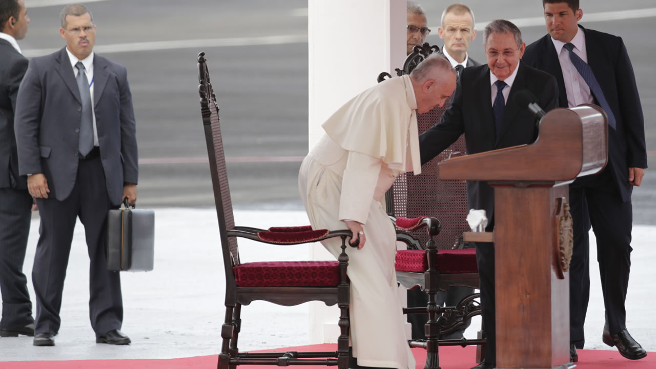 "<div class=""meta image-caption""><div class=""origin-logo origin-image none""><span>none</span></div><span class=""caption-text"">Pope Francis sits as Cuba's President Raul Castro stands at right during his arrival ceremony at the airport in Havana, Cuba, Saturday, Sept. 19, 2015. (AP Photo/Ramon Espinosa)</span></div>"