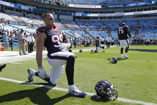 "<div class=""meta image-caption""><div class=""origin-logo origin-image none""><span>none</span></div><span class=""caption-text"">Houston Texans' J.J. Watt (99) warms up before an NFL football game Carolina Panthers in Charlotte, N.C., Sunday, Sept. 20, 2015. (AP Photo/ Bob Leverone)</span></div>"