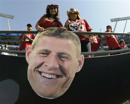 """<div class=""""meta image-caption""""><div class=""""origin-logo origin-image none""""><span>none</span></div><span class=""""caption-text"""">Houston Texans fans watch their team warm up against the Carolina Panthers before an NFL football game in Charlotte, N.C., Sunday, Sept. 20, 2015. (AP Photo/ Mike McCarn)</span></div>"""