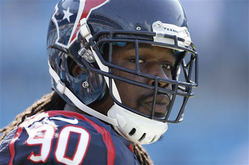 """<div class=""""meta image-caption""""><div class=""""origin-logo origin-image none""""><span>none</span></div><span class=""""caption-text"""">Houston Texans' Jadeveon Clowney warms up before an NFL football game against the Carolina Panthers in Charlotte, N.C., Sunday, Sept. 20, 2015. (AP Photo/ Bob Leverone)</span></div>"""