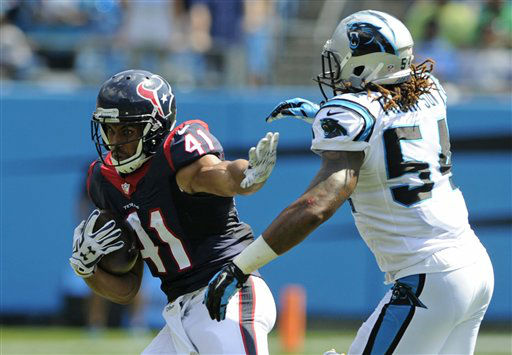 "<div class=""meta image-caption""><div class=""origin-logo origin-image none""><span>none</span></div><span class=""caption-text"">Houston Texans' Jonathan Grimes (41) runs as Carolina Panthers' Shaq Green-Thompson (54) defends (AP Photo/ Mike McCarn)</span></div>"