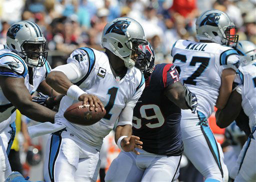 "<div class=""meta image-caption""><div class=""origin-logo origin-image none""><span>none</span></div><span class=""caption-text"">Carolina Panthers' Cam Newton (1) scrambles against the Houston Texans during the first half (AP Photo/ Mike McCarn)</span></div>"