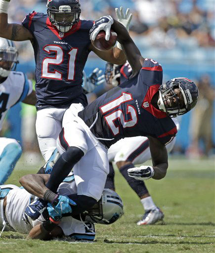 "<div class=""meta image-caption""><div class=""origin-logo origin-image none""><span>none</span></div><span class=""caption-text"">Houston Texans' Keith Mumphery (12) is tackled by a Carolina Panthers player (AP Photo/ Bob Leverone)</span></div>"