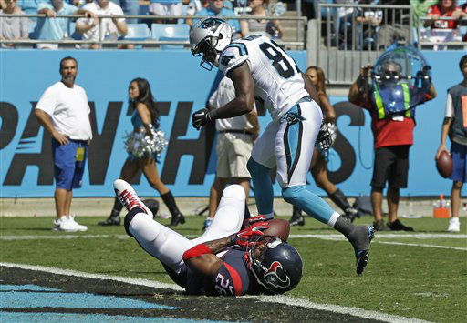 "<div class=""meta image-caption""><div class=""origin-logo origin-image none""><span>none</span></div><span class=""caption-text"">Houston Texans' Rahim Moore (26) intercepts a pass intended for Carolina Panthers' Kevin Norwood (81) (AP Photo/ Chuck Burton)</span></div>"