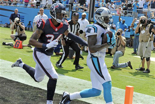"<div class=""meta image-caption""><div class=""origin-logo origin-image none""><span>none</span></div><span class=""caption-text"">Carolina Panthers' Ted Ginn (19) catches a touchdown pass as Houston Texans' A.J. Bouye (34) defends (AP Photo/ Mike McCarn)</span></div>"