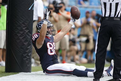 "<div class=""meta image-caption""><div class=""origin-logo origin-image none""><span>none</span></div><span class=""caption-text"">Houston Texans' Garrett Graham (88) celebrates his touchdown catch against the Carolina Panthers (AP Photo/ Bob Leverone)</span></div>"
