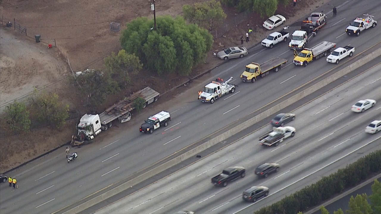 A crash involving a semi-truck and multiple cars snarled traffic on the westbound 10 Freeway in West Covina on Monday, Sept. 21, 2015.