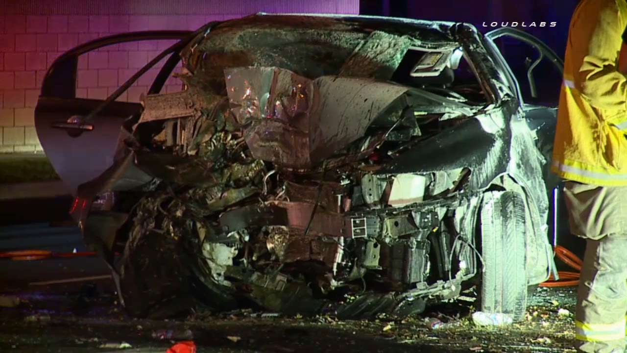 A car was destroyed after a violent crash into a tree left two people in critical condition early Monday, Sept. 21, 2015.