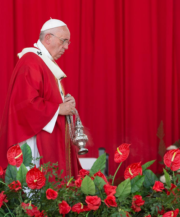 """<div class=""""meta image-caption""""><div class=""""origin-logo origin-image none""""><span>none</span></div><span class=""""caption-text"""">Pope Francis circles the altar with incense during a Mass in the Plaza of the Revolution, in Holguin, Cuba, Monday, Sept. 21, 2015. (AP Photo/Alessandra Tarantino)</span></div>"""