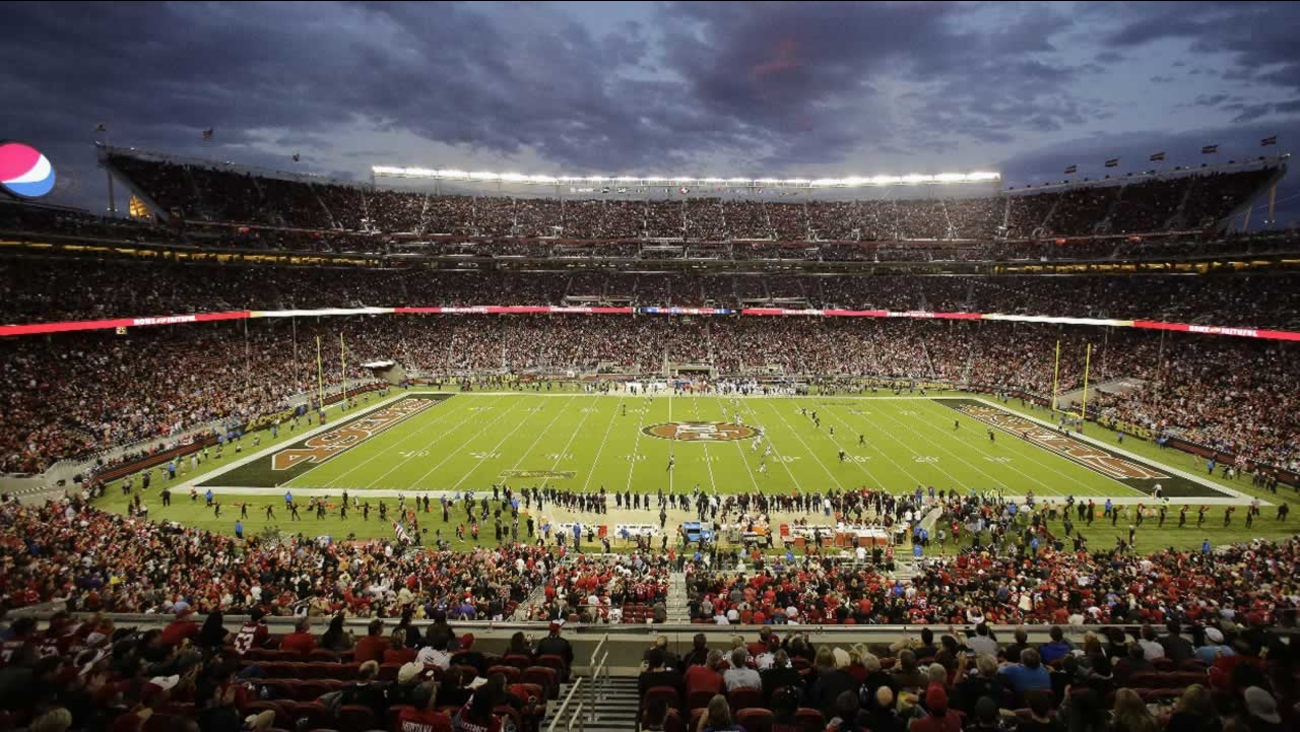 Fans at Levi's Stadium watch during the first half of an NFL football game between the San Francisco 49ers and the Minnesota Vikings in Santa Clara, Calif., Monday, Sept. 14, 2015.