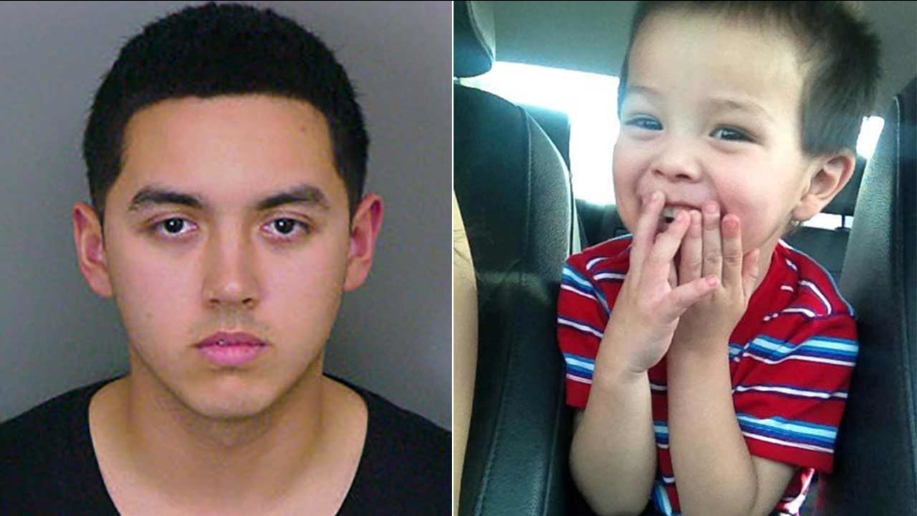 Michael Lucero, 22, of Ontario (left) was convicted of second-degree murder and assault on a child for allegedly beating 2-year-old Xzavier Taccati (right) to death.