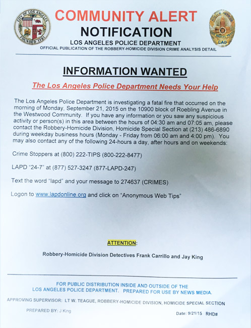 LAPD handed out fliers seeking witnesses who may have seen or heard anything suspicious in Westwood on Monday, Sept. 21, 2015.