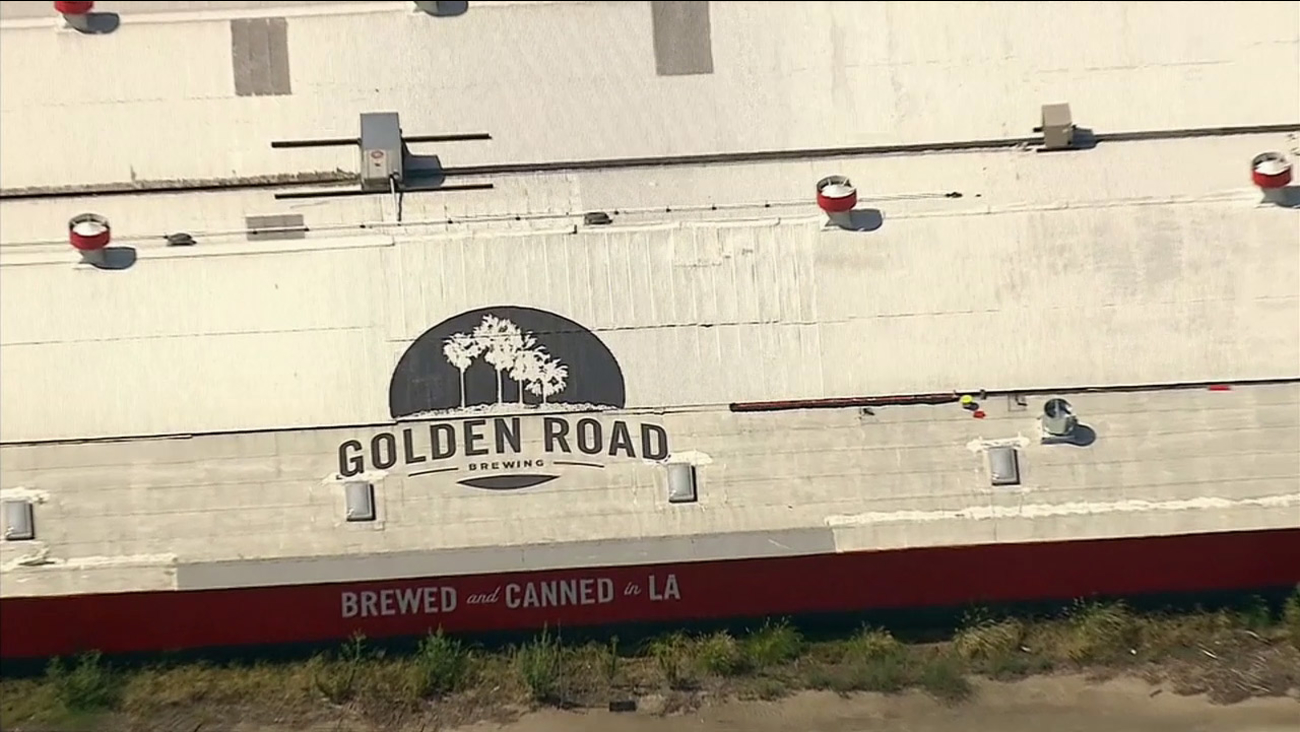 The roof of Golden Road Brewing in Los Angeles is seen from AIR7 HD on Wednesday, Sept. 23, 2015.