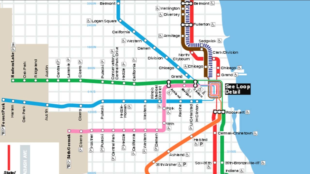 Train In Chicago Map.Green Pink Line Service Disrupted After Woman Fatally Struck By